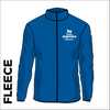 Horsforth Harriers royal fleece top front with embroidered badge on left chest.