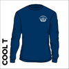 St. Theresas navy Long Sleeve athletics Cool T-Shirt front image with printed club badge on chest