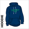 St. Theresas navy hooded top front with printed club badge on chest
