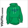 St. Theresas green youth hooded top front with printed club badge on chest