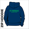 St. Theresas navy zipped hooded top front with printed club badge on left chest