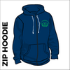 St. Theresas navy zipped hooded top back with centre back print