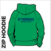 St. Theresas green zipped hooded top back with centre back print