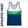St, Theresas navy, green and white athletics vest, front image