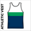 St, Theresas navy, green and white athletics vest, back image