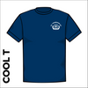 St Thereseas navy athletic Cool T-Shirt froint image showing club badge