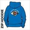 Bronte Archers Zipped Hooded top. Royal colour with a double lined hood and front pockets. Embroidered club badge across shoulders.