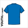 Back of Bronte Archers official Youth Cotton T-Shirt. Royal blue coloured 100% cotton fabric.