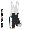Custom cycle bib short club design side panel sublimation print. Side picture showing club custom design, silicon leg gripper and 4 way stretch bib mesh. right leg view