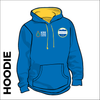 Team hooded top front with embroidered badge on left chest