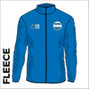 Fleece top front with embroidered badge on left chest