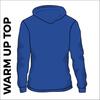 warm up top. Royal blue colour, back view.