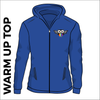 warm up top. Royal blue colour, embroidered club badge left chest, front view.