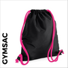 custom printed Black Gymsac with pink cords
