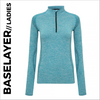 Turquoise Ladies Long Sleeve Baselayer, customisable with your own print
