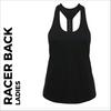 custom printed Black ladies Racer back vest