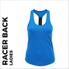 custom printed Blue ladies Racer back vest