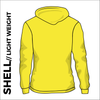 yellow ultra light softshell athletics jacket, back view with hood