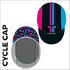 Custom cycle cap in full sublimation print, image showing side profile of cap and custom design
