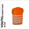 fun orange reflective youth cycling waistcoat back