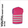 fun pink reflective youth cycling waistcoat back
