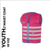 fun pink reflective youth cycling waistcoat front