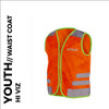 nutty orange reflective youth cycling waistcoat front