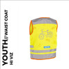 nutty yellow reflective youth cycling waistcoat back