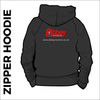 zipped hoodie with embroidered logo on centre back