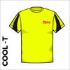 contrast cool T in flo yellow with printed club badge on left chest and centre back
