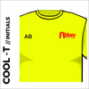 flo yellow Cool-T, moisture wicking with printed initials