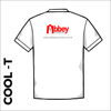 white Cool-T, moisture wicking back image showing printed club logo