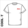 white Cool-T, moisture wicking with printed left chest badge