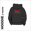 youth hoodie with embroidered logo on centre back