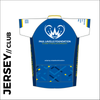 Short sleeve custom cycle jersey club design in full sublimation print. Back picture showing 3 rear pocket to stow riding supplies.