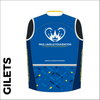 Custom club cycle gilet design in full sublimation print. Back picture showing breathable paneling and horizontal zip to allow access to rear jersey pockets.