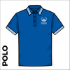 Tipped polo shirt, front view showing embroidered club badge on left chest.