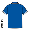Tipped polo shirt, back view showing contrast tipped collar and cuffs