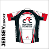 Short sleeve custom cycle jersey sport design in full sublimation print. Back picture showing 3 rear pocket to stow riding supplies.