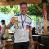 example of printed Team spirit blue custom cycle jersey after the event