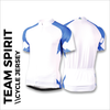 Team spirit blue custom cycle jersey, showing front, back and sleeves plain white print areas for sublimation full colour printing. Quick 5-7 day turn around on custom printing.