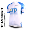 example of printed Team spirit blue cycle jersey with front, sleeves and back full colour sublimation printing