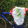 example of printed Team spirit red custom cycle jersey on bike with full colour map artwork sublimation printed on the back