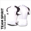 Team spirit black custom cycle jersey, showing front, back and sleeves plain white print areas for sublimation full colour printing. Quick 5-7 day turn around on custom printing.