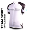 example of printed Team spirit black custom cycle jersey with front, sleeves and back full colour sublimation printing