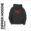 zipped youth hoodie with embroidered logo on centre back