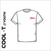 White Youth Cool-T, moisture wicking with printed left chest badge