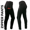 Zipper warm up pant with full length side zip and embroidered club badge on right thigh