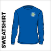 royal sweater front with embroidered badge on left chest