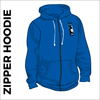 royal zipped hoodie with embroidered logo on chest